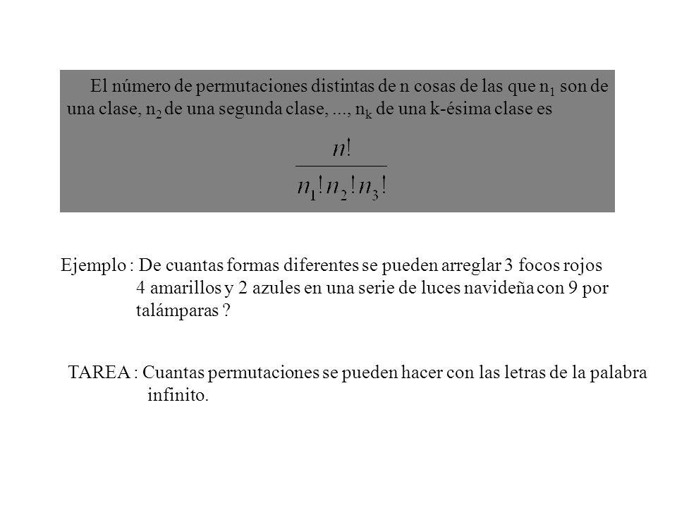 El número de permutaciones distintas de n cosas de las que n 1 son de una clase, n 2 de una segunda clase,..., n k de una k-ésima clase es Ejemplo : D