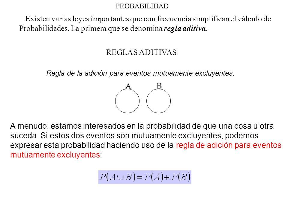 PROBABILIDAD Existen varias leyes importantes que con frecuencia simplifican el cálculo de Probabilidades. La primera que se denomina regla aditiva. R