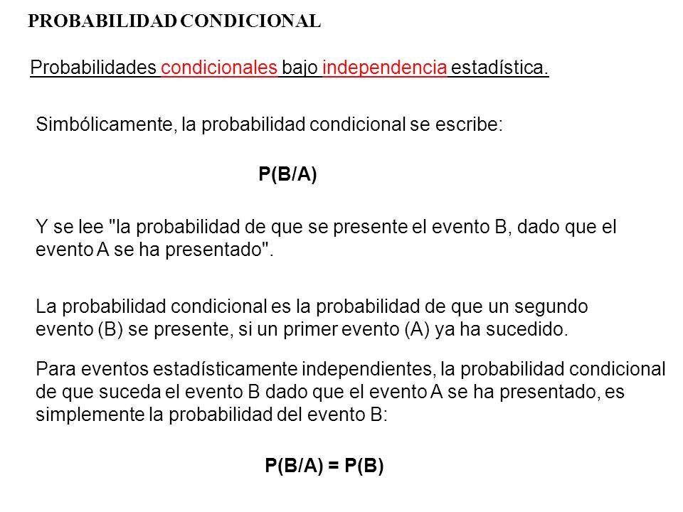 PROBABILIDAD CONDICIONAL Probabilidades condicionales bajo independencia estadística. Simbólicamente, la probabilidad condicional se escribe: P(B/A) Y
