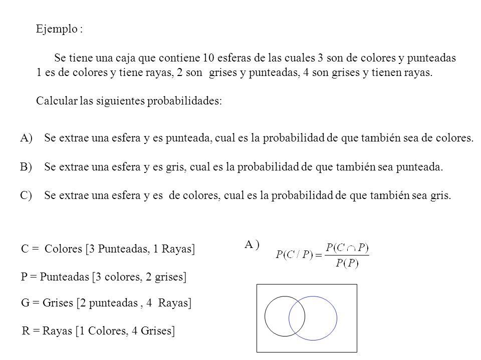 Ejemplo : Se tiene una caja que contiene 10 esferas de las cuales 3 son de colores y punteadas 1 es de colores y tiene rayas, 2 son grises y punteadas