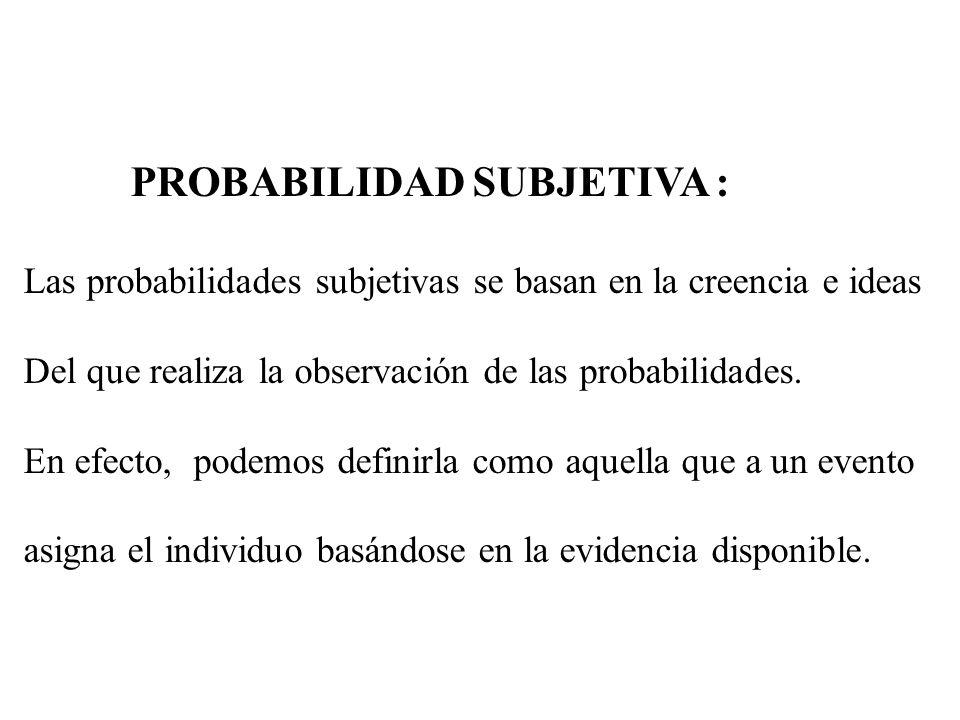PROBABILIDAD SUBJETIVA : Las probabilidades subjetivas se basan en la creencia e ideas Del que realiza la observación de las probabilidades. En efecto