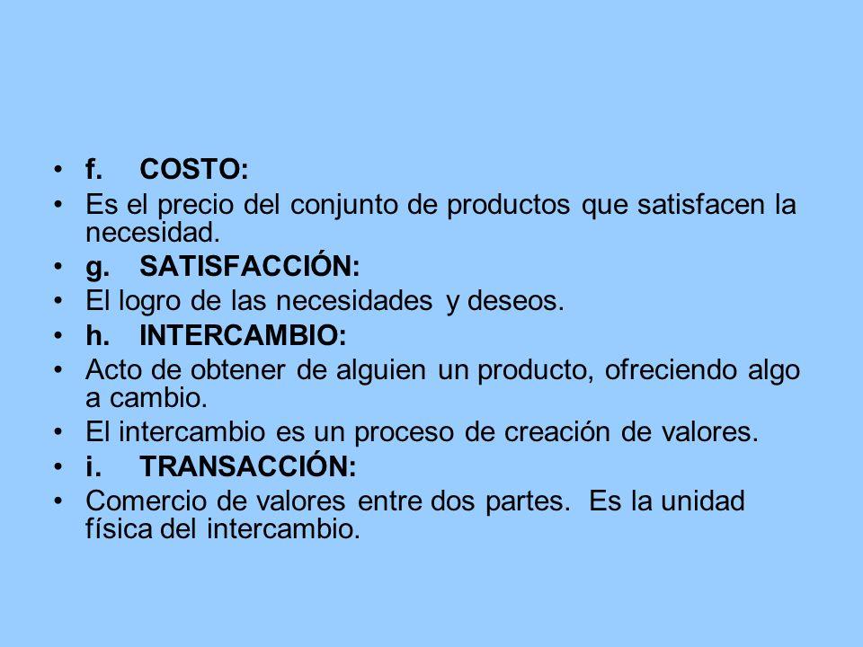 f.COSTO: Es el precio del conjunto de productos que satisfacen la necesidad. g.SATISFACCIÓN: El logro de las necesidades y deseos. h.INTERCAMBIO: Acto