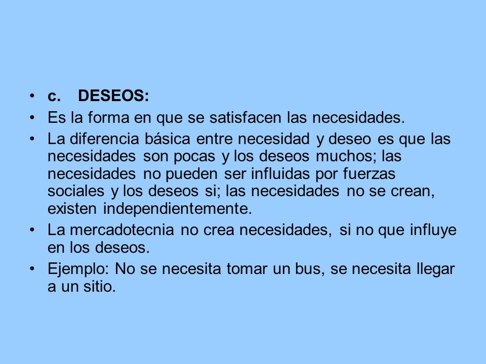 c.DESEOS: Es la forma en que se satisfacen las necesidades. La diferencia básica entre necesidad y deseo es que las necesidades son pocas y los deseos