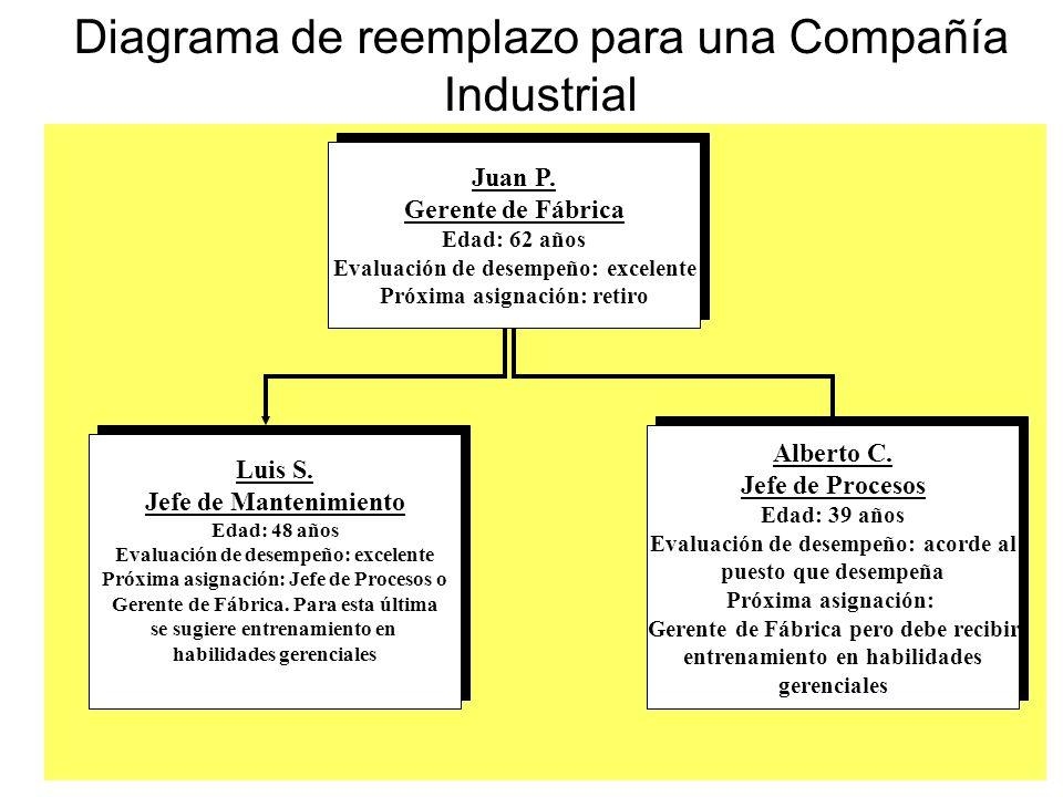 Diagrama de reemplazo para una Compañía Industrial Alberto C. Jefe de Procesos Edad: 39 años Evaluación de desempeño: acorde al puesto que desempeña P