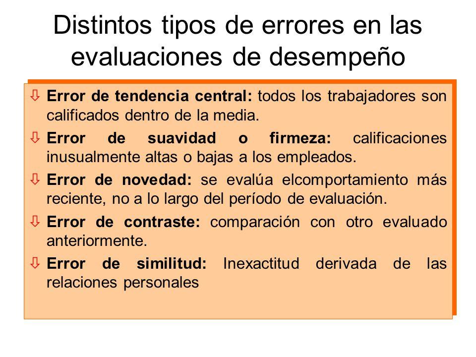 Distintos tipos de errores en las evaluaciones de desempeño òError de tendencia central: todos los trabajadores son calificados dentro de la media. òE