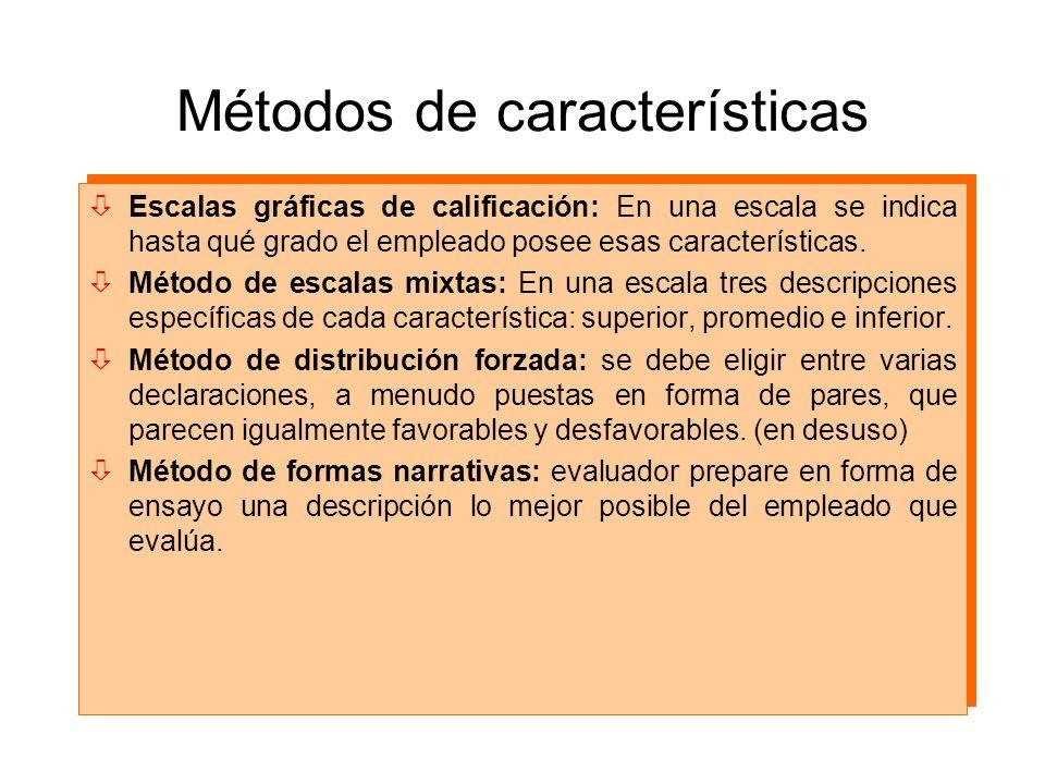 Métodos de características òEscalas gráficas de calificación: En una escala se indica hasta qué grado el empleado posee esas características. òMétodo