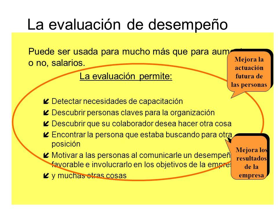 La evaluación de desempeño Puede ser usada para mucho más que para aumentar, o no, salarios. La evaluación permite: íDetectar necesidades de capacitac