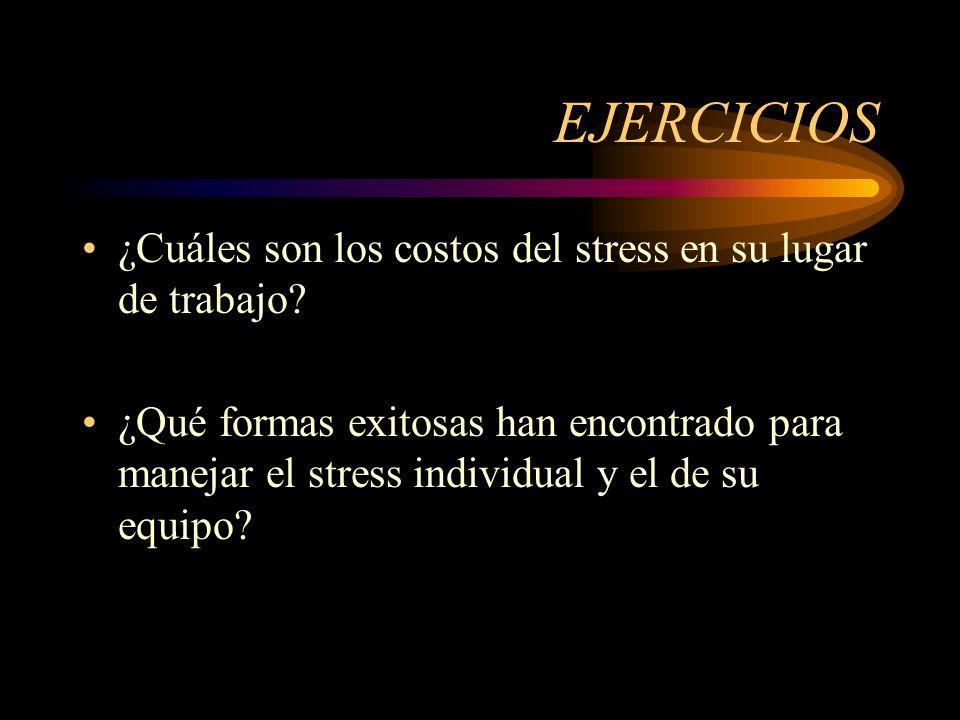 EJERCICIOS ¿Cuáles son los costos del stress en su lugar de trabajo? ¿Qué formas exitosas han encontrado para manejar el stress individual y el de su