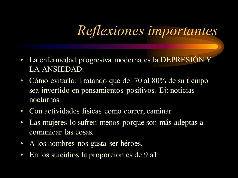 Reflexiones importantes La enfermedad progresiva moderna es la DEPRESIÓN Y LA ANSIEDAD. Cómo evitarla: Tratando que del 70 al 80% de su tiempo sea inv