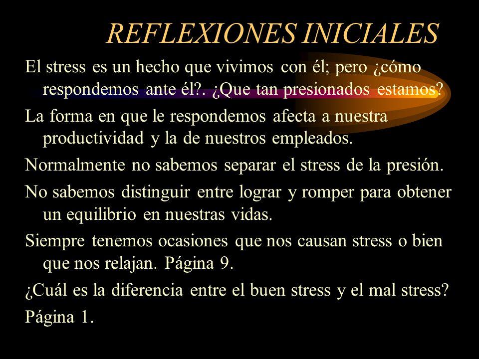 REFLEXIONES INICIALES El stress es un hecho que vivimos con él; pero ¿cómo respondemos ante él?. ¿Que tan presionados estamos? La forma en que le resp