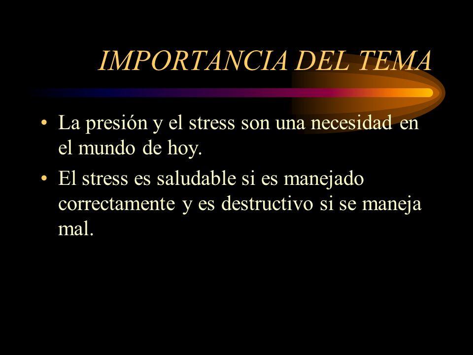 IMPORTANCIA DEL TEMA La presión y el stress son una necesidad en el mundo de hoy. El stress es saludable si es manejado correctamente y es destructivo