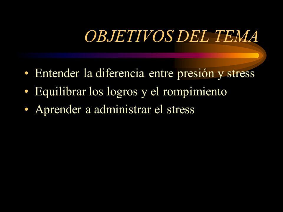OBJETIVOS DEL TEMA Entender la diferencia entre presión y stress Equilibrar los logros y el rompimiento Aprender a administrar el stress