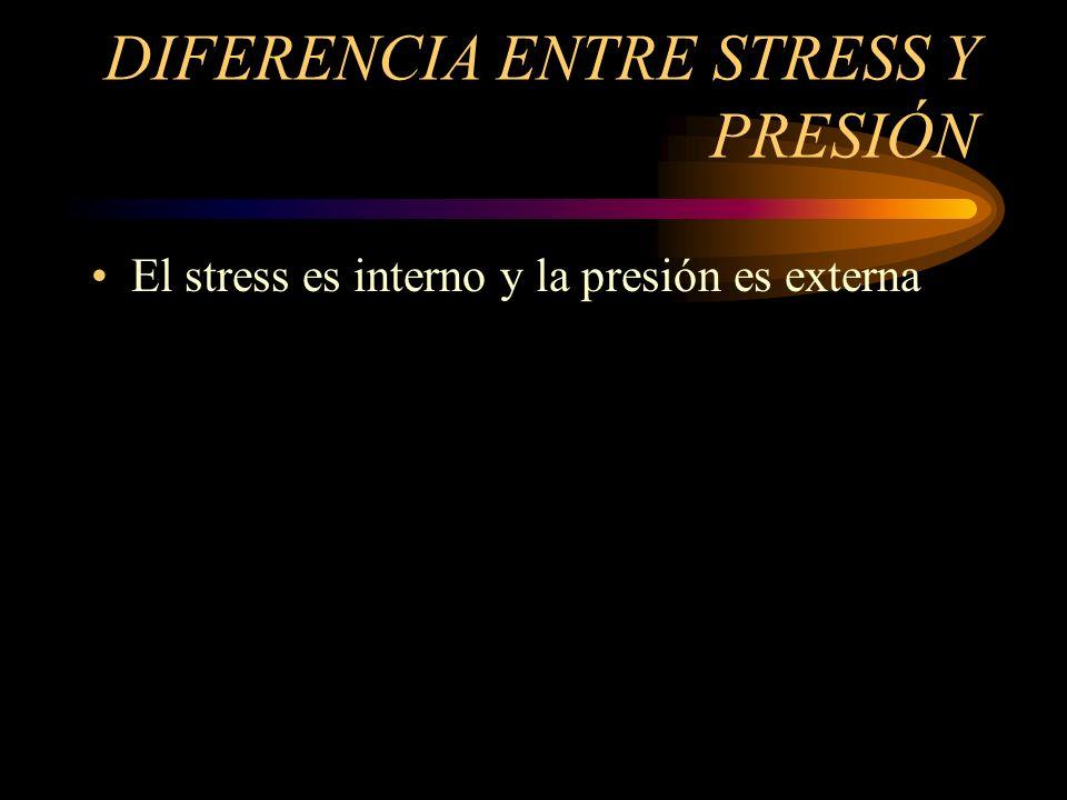 DIFERENCIA ENTRE STRESS Y PRESIÓN El stress es interno y la presión es externa