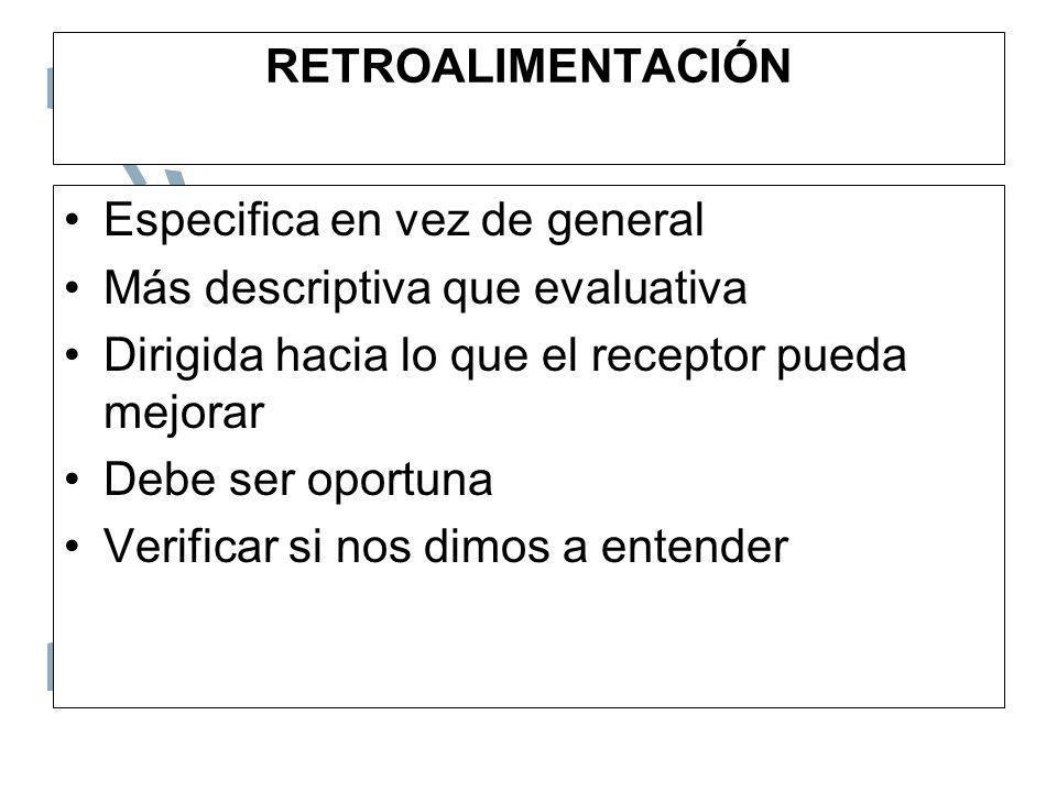 RETROALIMENTACIÓN Especifica en vez de general Más descriptiva que evaluativa Dirigida hacia lo que el receptor pueda mejorar Debe ser oportuna Verifi