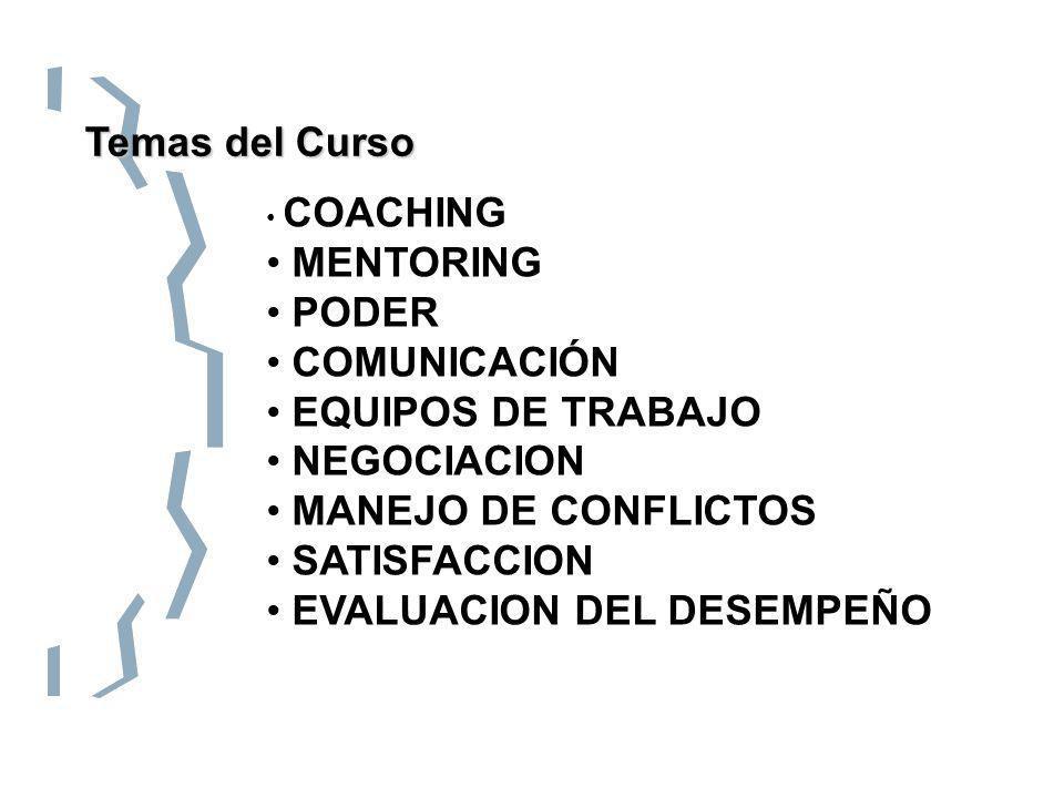 Temas del Curso COACHING MENTORING PODER COMUNICACIÓN EQUIPOS DE TRABAJO NEGOCIACION MANEJO DE CONFLICTOS SATISFACCION EVALUACION DEL DESEMPEÑO