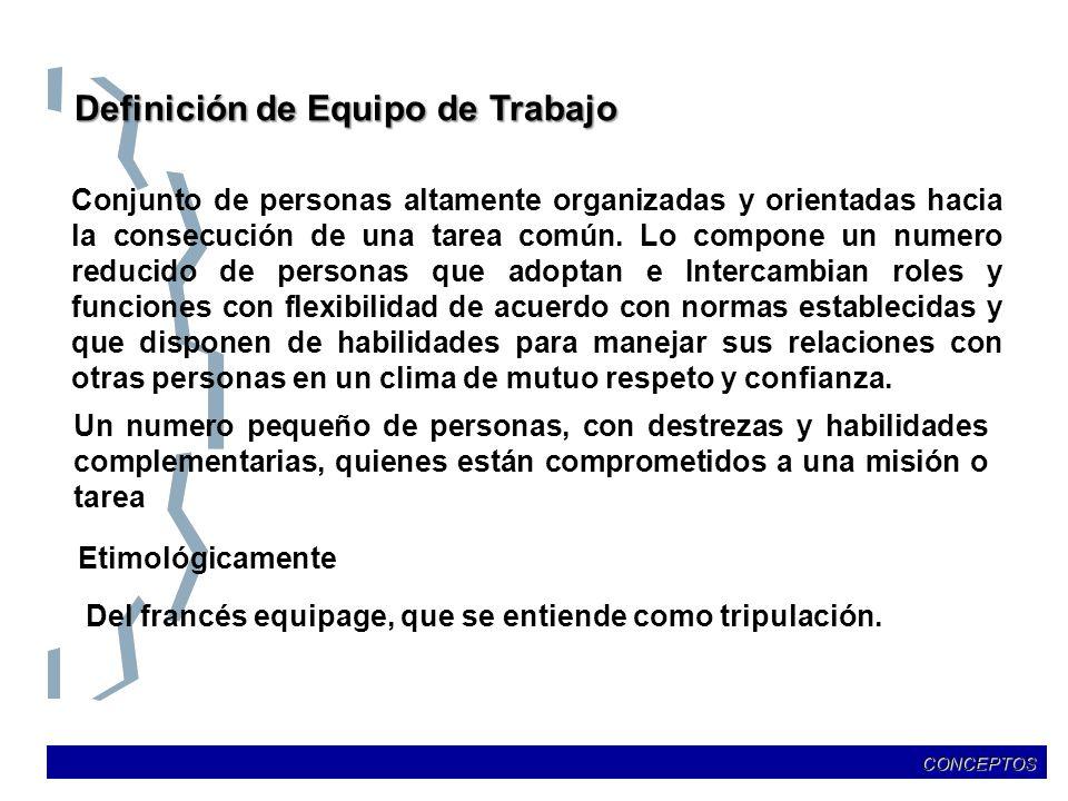 Definición de Equipo de Trabajo Conjunto de personas altamente organizadas y orientadas hacia la consecución de una tarea común. Lo compone un numero