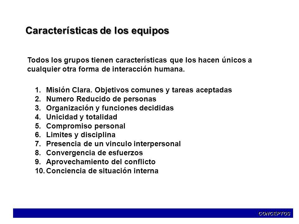 Características de los equipos Todos los grupos tienen características que los hacen únicos a cualquier otra forma de interacción humana. 1.Misión Cla