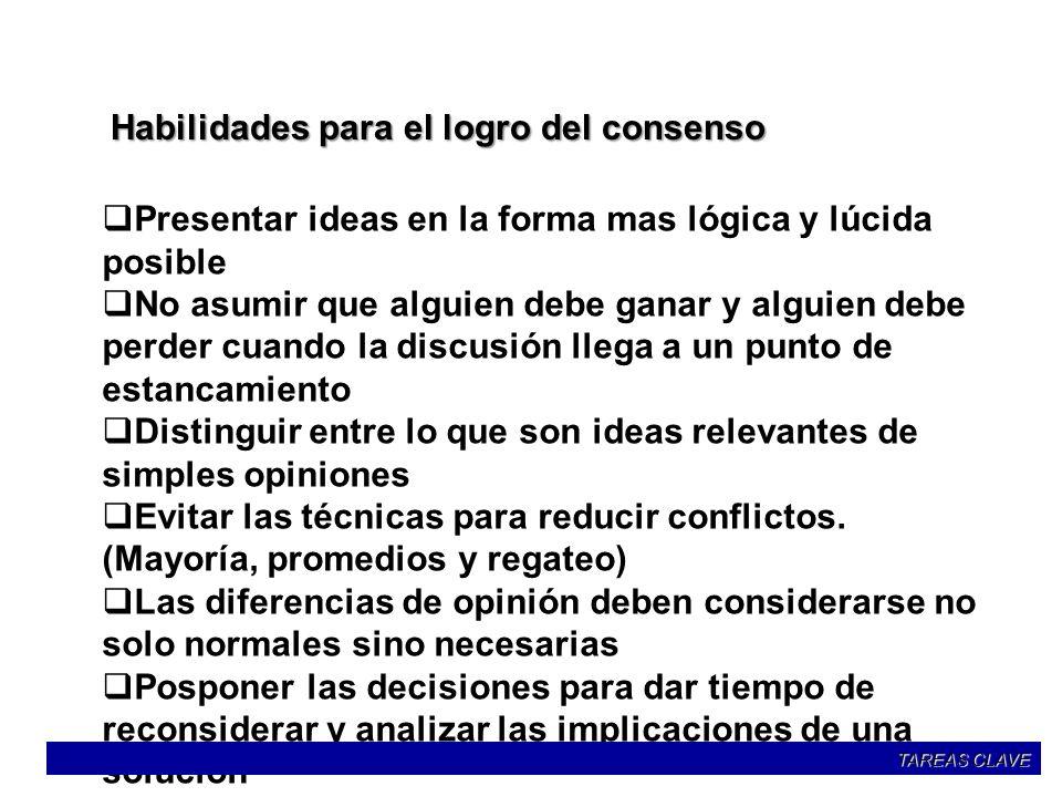 Habilidades para el logro del consenso Presentar ideas en la forma mas lógica y lúcida posible No asumir que alguien debe ganar y alguien debe perder