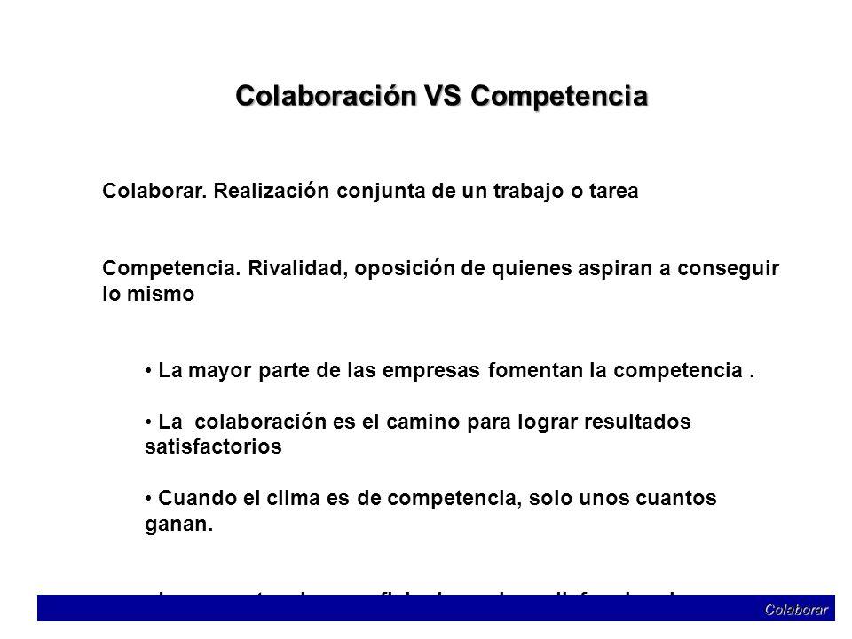 Colaboración VS Competencia Colaborar. Realización conjunta de un trabajo o tarea Competencia. Rivalidad, oposición de quienes aspiran a conseguir lo