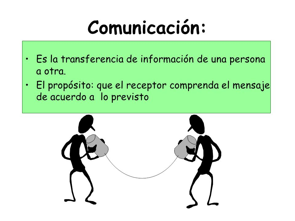 Comunicación: Es la transferencia de información de una persona a otra. El propósito: que el receptor comprenda el mensaje de acuerdo a lo previsto