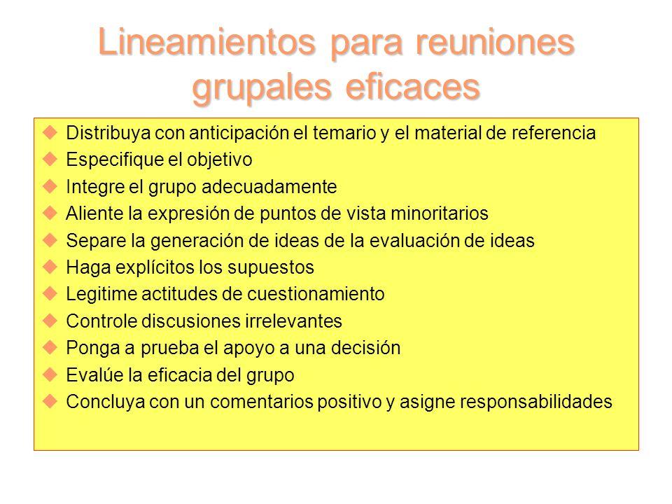 Lineamientos para reuniones grupales eficaces uDistribuya con anticipación el temario y el material de referencia uEspecifique el objetivo uIntegre el