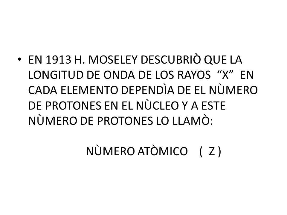EN 1913 H. MOSELEY DESCUBRIÒ QUE LA LONGITUD DE ONDA DE LOS RAYOS X EN CADA ELEMENTO DEPENDÌA DE EL NÙMERO DE PROTONES EN EL NÙCLEO Y A ESTE NÙMERO DE