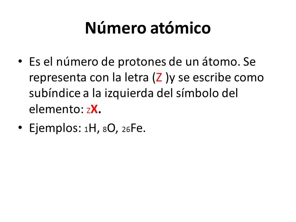 Número atómico Es el número de protones de un átomo. Se representa con la letra (Z )y se escribe como subíndice a la izquierda del símbolo del element