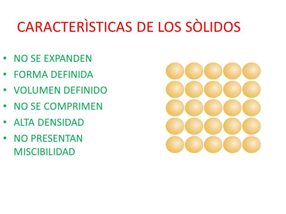 CARACTERÌSTICAS DE LOS SÒLIDOS NO SE EXPANDEN FORMA DEFINIDA VOLUMEN DEFINIDO NO SE COMPRIMEN ALTA DENSIDAD NO PRESENTAN MISCIBILIDAD