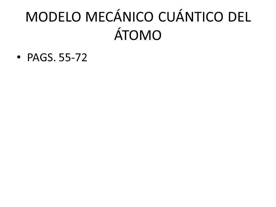 MODELO MECÁNICO CUÁNTICO DEL ÁTOMO PAGS. 55-72