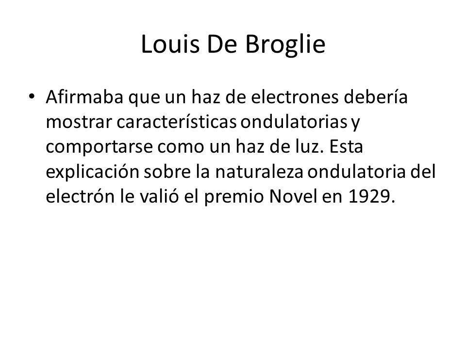 Louis De Broglie Afirmaba que un haz de electrones debería mostrar características ondulatorias y comportarse como un haz de luz. Esta explicación sob