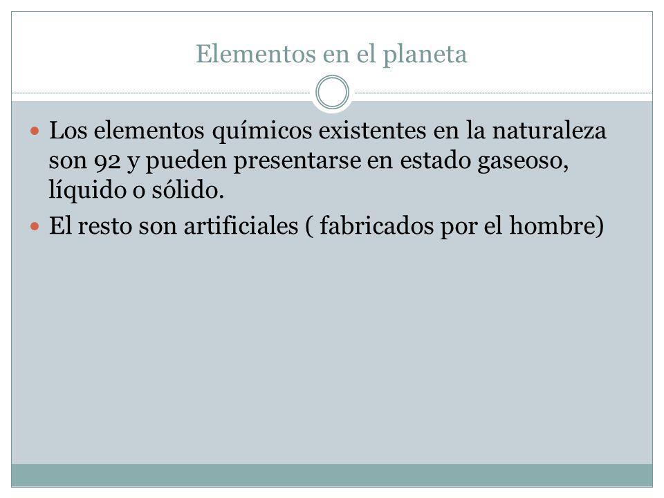 Elementos en el planeta Los elementos químicos existentes en la naturaleza son 92 y pueden presentarse en estado gaseoso, líquido o sólido.