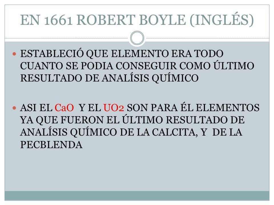 EN 1661 ROBERT BOYLE (INGLÉS) ESTABLECIÓ QUE ELEMENTO ERA TODO CUANTO SE PODIA CONSEGUIR COMO ÚLTIMO RESULTADO DE ANALÍSIS QUÍMICO ASI EL CaO Y EL UO2 SON PARA ÉL ELEMENTOS YA QUE FUERON EL ÚLTIMO RESULTADO DE ANALÍSIS QUÍMICO DE LA CALCITA, Y DE LA PECBLENDA