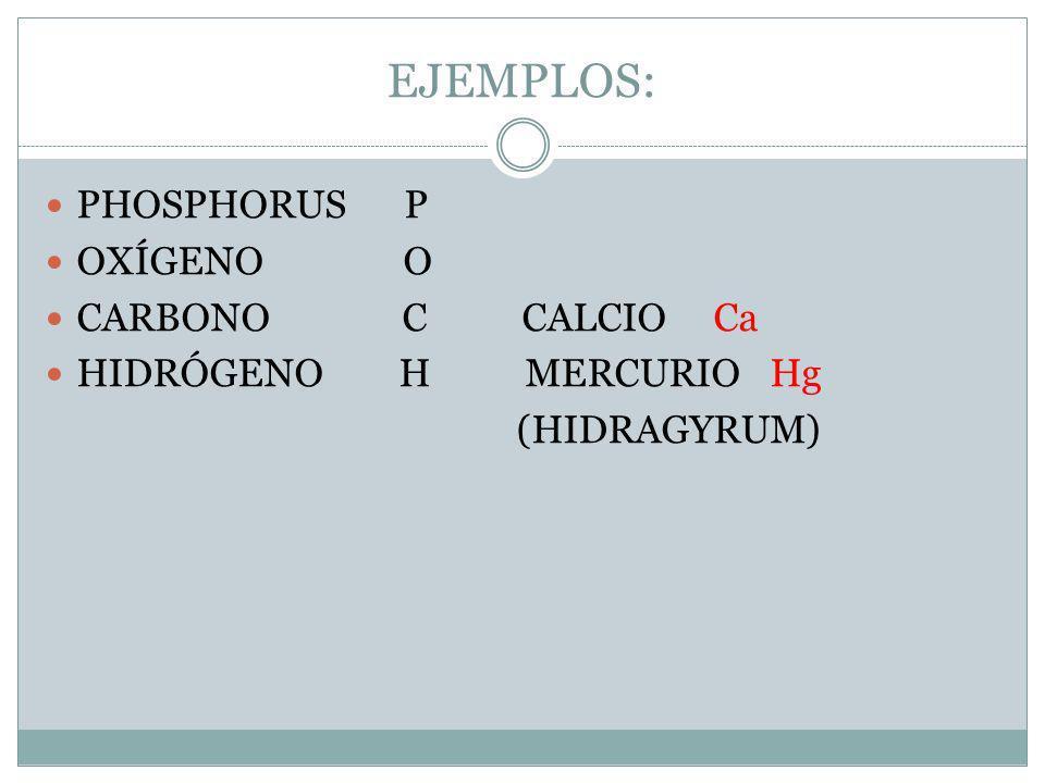 EJEMPLOS: PHOSPHORUS P OXÍGENO O CARBONO C CALCIO Ca HIDRÓGENO H MERCURIO Hg (HIDRAGYRUM)