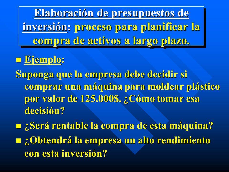Elaboración de presupuestos de inversión: proceso para planificar la compra de activos a largo plazo. n Ejemplo: Suponga que la empresa debe decidir s