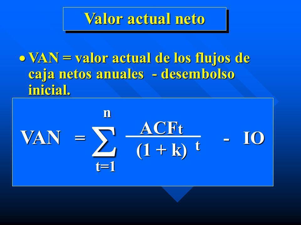 Valor actual neto VAN = valor actual de los flujos de caja netos anuales - desembolso inicial. VAN = valor actual de los flujos de caja netos anuales