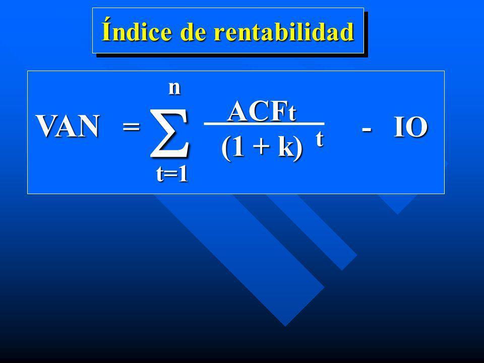 Índice de rentabilidad VAN = - IO ACF t ACF t (1 + k) t nt=1