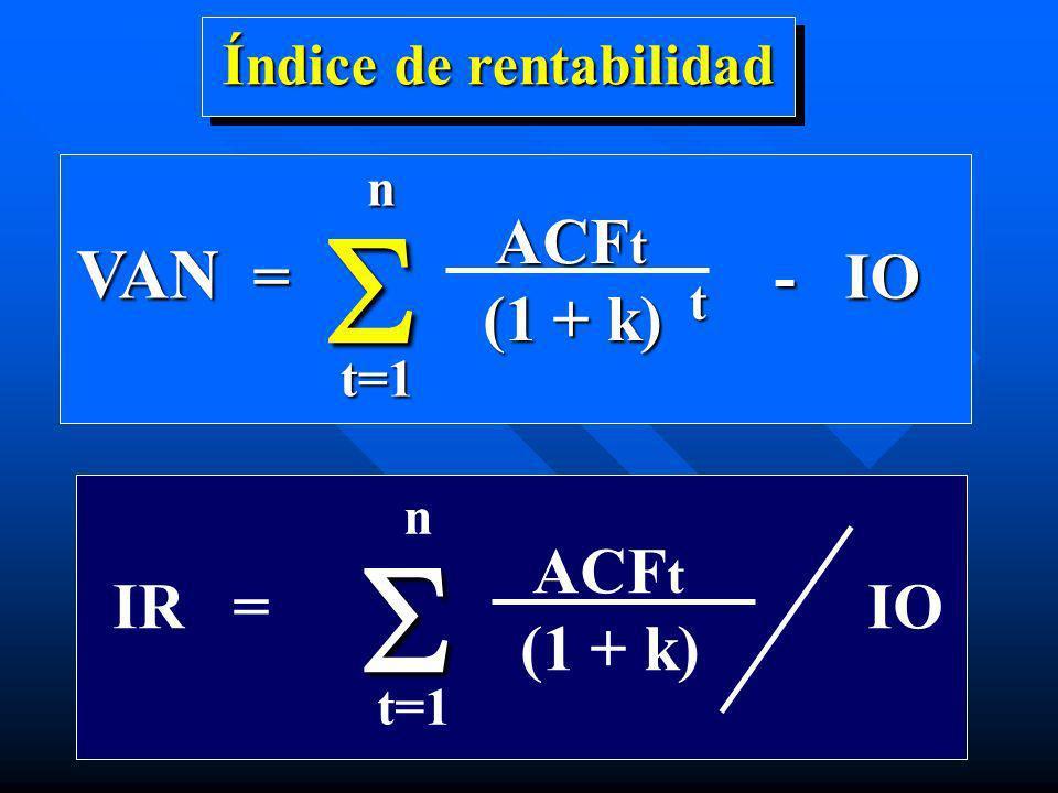 Índice de rentabilidad t VAN = - IO ACF t ACF t (1 + k) t nt=1 IR = IO ACF t (1 + k) n t=1
