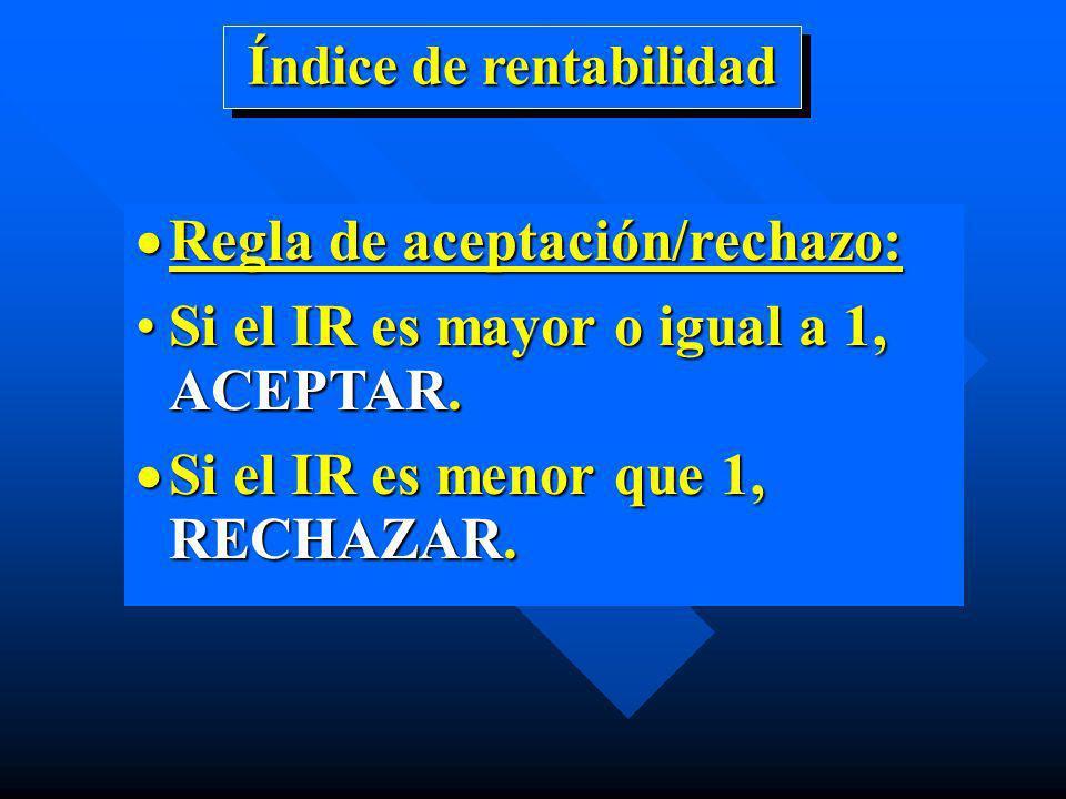 Regla de aceptación/rechazo: Regla de aceptación/rechazo: Si el IR es mayor o igual a 1, ACEPTAR.Si el IR es mayor o igual a 1, ACEPTAR. Si el IR es m