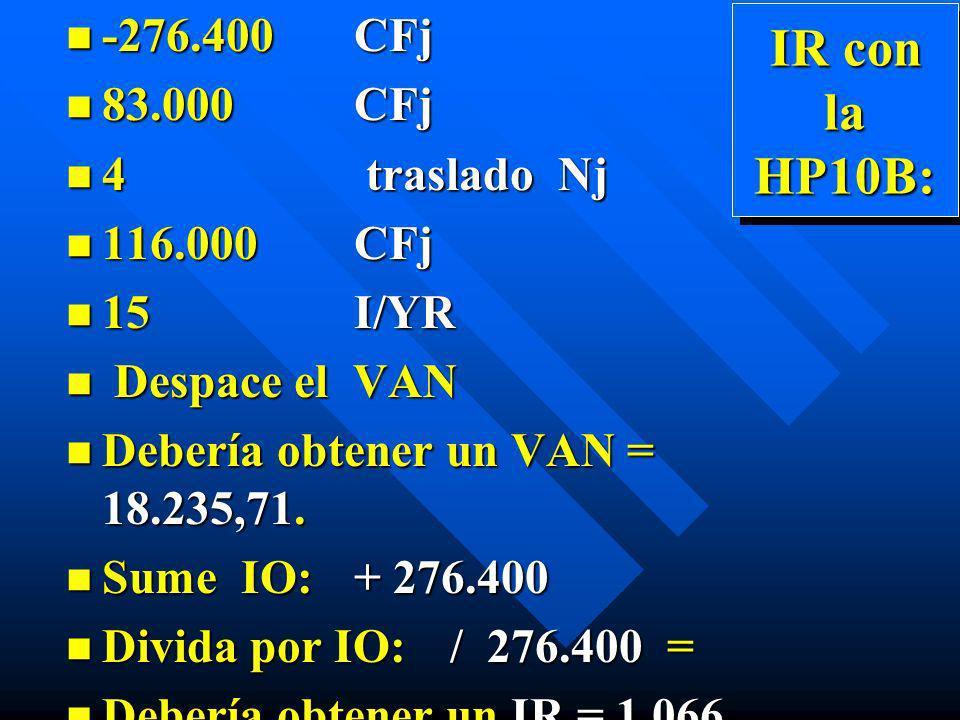 IR con la HP10B: n -276.400CFj n 83.000 CFj n 4 traslado Nj n 116.000 CFj n 15 I/YR n Despace el VAN n Debería obtener un VAN = 18.235,71. n Sume IO:+