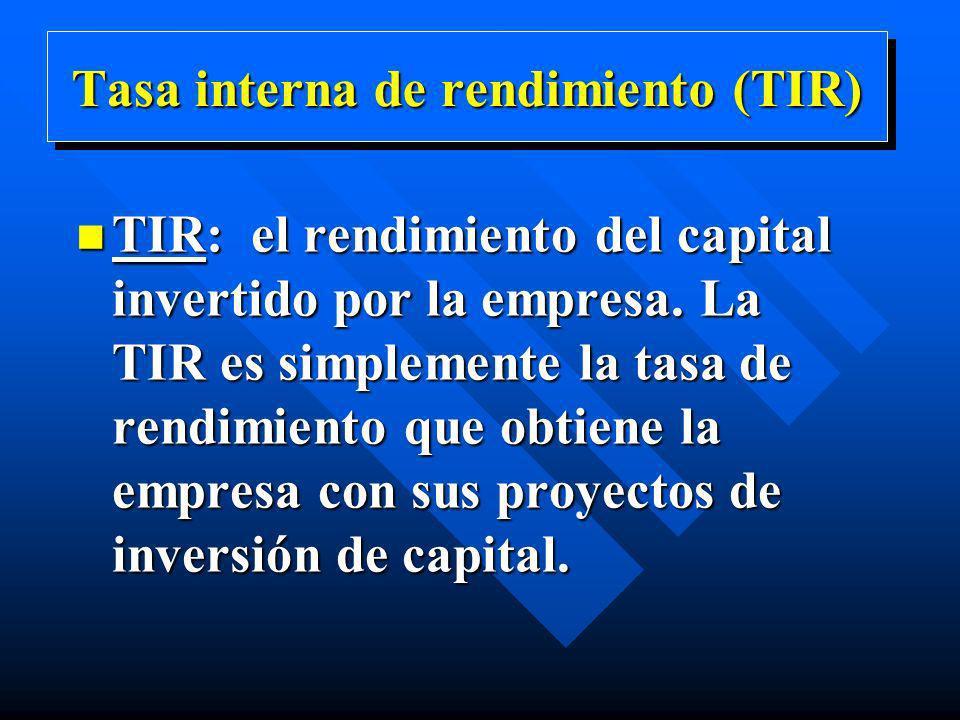Tasa interna de rendimiento (TIR) n TIR: el rendimiento del capital invertido por la empresa. La TIR es simplemente la tasa de rendimiento que obtiene