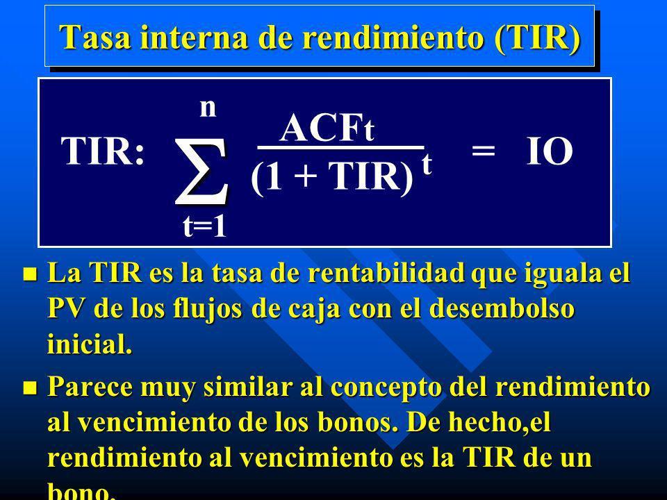 Tasa interna de rendimiento (TIR) n La TIR es la tasa de rentabilidad que iguala el PV de los flujos de caja con el desembolso inicial. n Parece muy s