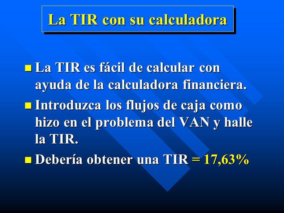 La TIR con su calculadora n La TIR es fácil de calcular con ayuda de la calculadora financiera. n Introduzca los flujos de caja como hizo en el proble
