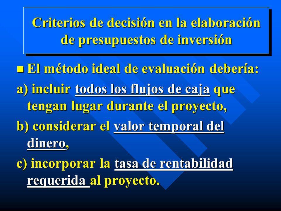 n El método ideal de evaluación debería: a) incluir todos los flujos de caja que tengan lugar durante el proyecto, b) considerar el valor temporal del