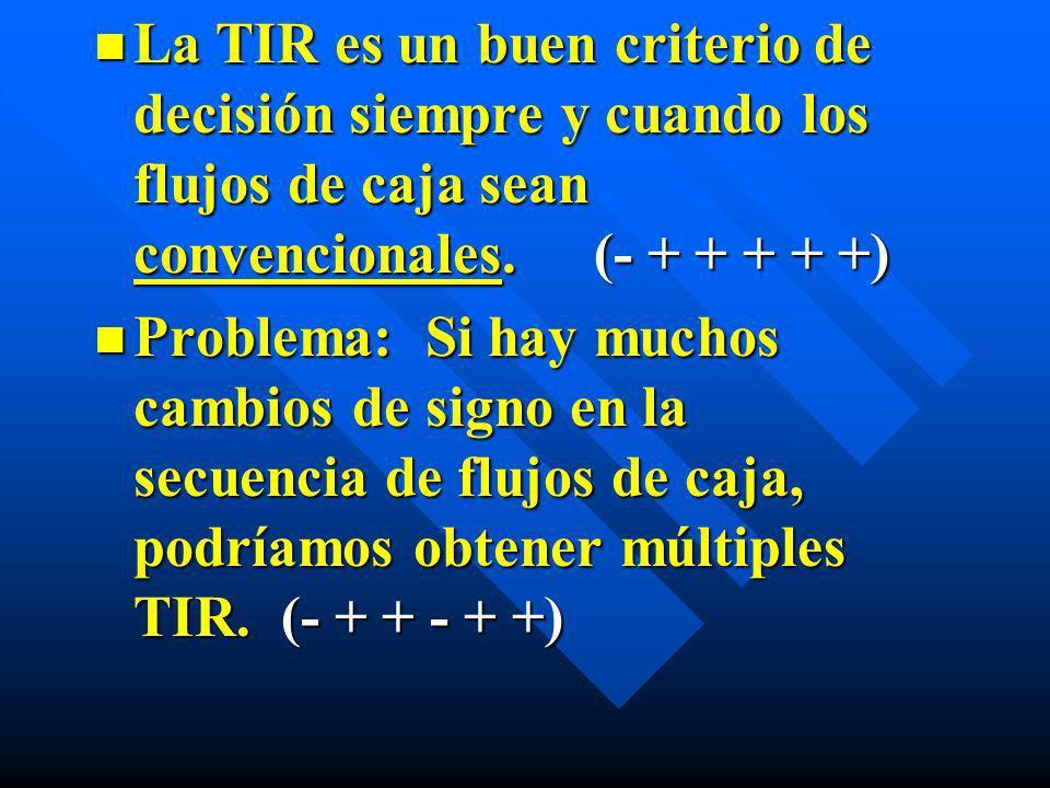n La TIR es un buen criterio de decisión siempre y cuando los flujos de caja sean convencionales. (- + + + + +) n Problema: Si hay muchos cambios de s