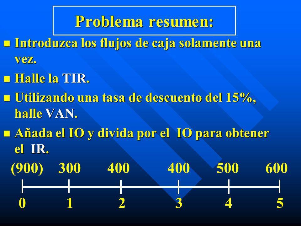 Problema resumen: n Introduzca los flujos de caja solamente una vez. n Halle la TIR. n Utilizando una tasa de descuento del 15%, halle VAN. n Añada el