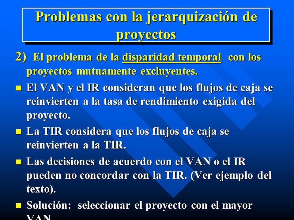 Problemas con la jerarquización de proyectos 2) El problema de la disparidad temporal con los proyectos mutuamente excluyentes. n El VAN y el IR consi