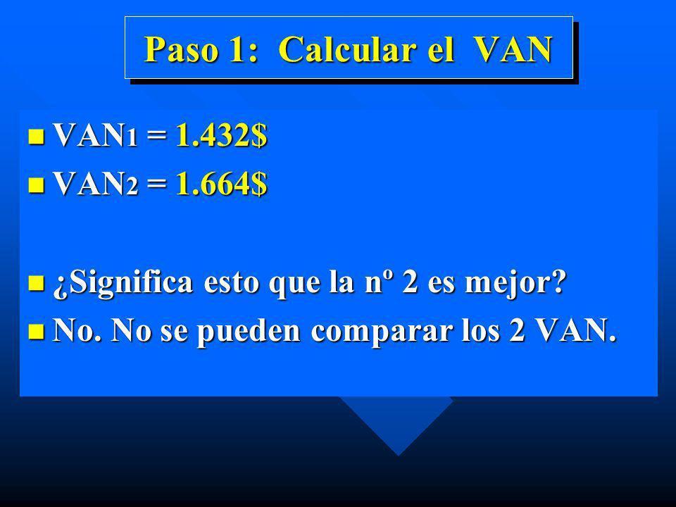 Paso 1: Calcular el VAN n VAN 1 = 1.432$ n VAN 2 = 1.664$ n ¿Significa esto que la nº 2 es mejor? n No. No se pueden comparar los 2 VAN.