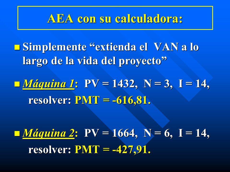 AEA con su calculadora: n Simplemente extienda el VAN a lo largo de la vida del proyecto n Máquina 1: PV = 1432, N = 3, I = 14, resolver: PMT = -616,8