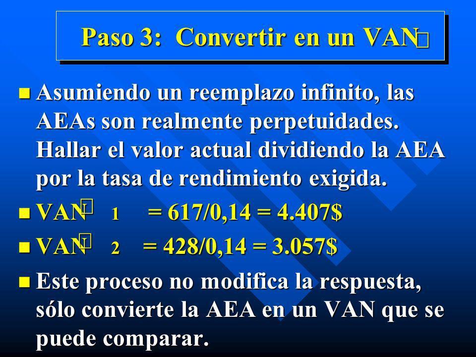 Paso 3: Convertir en un VAN n Asumiendo un reemplazo infinito, las AEAs son realmente perpetuidades. Hallar el valor actual dividiendo la AEA por la t