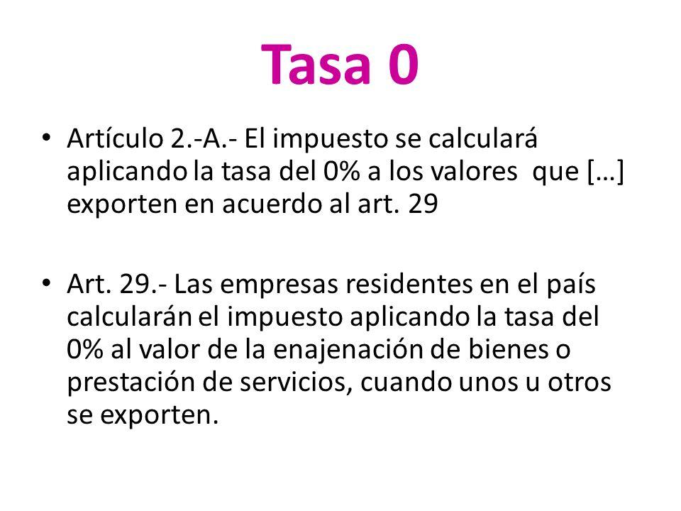 Tasa 0 Artículo 2.-A.- El impuesto se calculará aplicando la tasa del 0% a los valores que […] exporten en acuerdo al art. 29 Art. 29.- Las empresas r